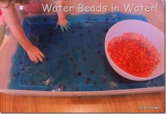 Putting water beads in colored water is so much fun!