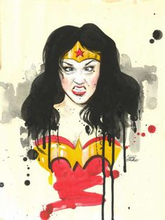 Wonder Woman Painting By Lora Zombie