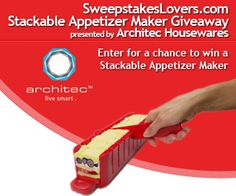 Enter the SweepstakesLovers.com Stackable Appetizer Maker Giveaway Presented by Architec Housewares for a chance to win a Stackable Appetizer Maker!  Enter at http://www.sweepstakeslovers.com/our-giveaways/sweepstakeslovers-com-stackable-appetizer-maker-giveaway-presented-by-architec-housewares/