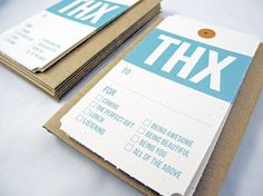Thank you notes inspired by mid century luggage tags