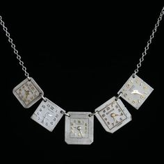 Recycled watch faces made into a necklace... neat!