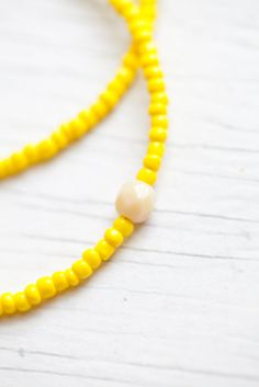 Bright Yellow Glass bead Necklace