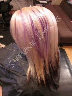 Blonde HAIR WITH purple Peek A Boo Highlights | two solid colors and a peek a boo