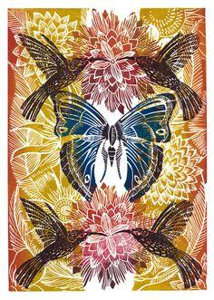 The Hummingbirds, Lino Print | Green Pebble, Greeting Cards, Amanda Colville