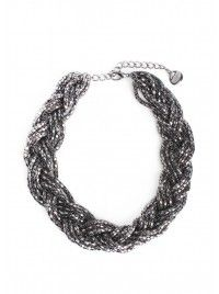 Gunmetal Braided Choker Necklace