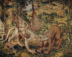 A griffin and panther fighting. From a series of tapestries woven in Brussels after cartons by William Tons. Currently in Wawel Castle