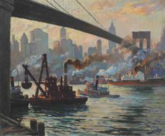 Edward Alfred Cucuel (1875-1954)  The Day's Work, East River, New York  signed 'Cucuel' (lower right)--signed again and inscribed with title (on the reverse)--signed again (on the stretcher) oil on canvas  25 x 30 in. (63.5 x 76.2 cm.)