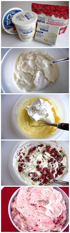 Best of Recipe: RASPBERRY VANILLA JELLO SALAD (I might substitute lemon pudding for vanilla) mix pudding mix with yogurt, add cool whip, then add frozen raspberries.