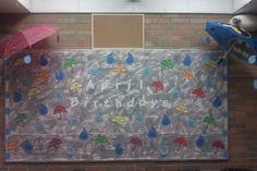 April Showers Birthday Bulletin Board -Raindrops & Umbrellas