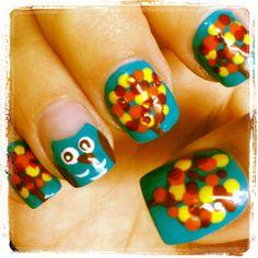 Owl fall nail designs