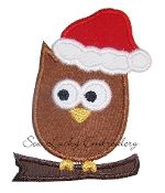 Christmas Owl Embroidered Applique Patch