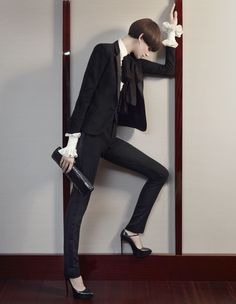 Tux redux [Spring/Summer 2013]: The masculine, monochrome tropes of the classic tuxedo are causing a stir in women's cocktail wear. <3