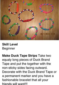Another Duck tape invention. Bracelets!
