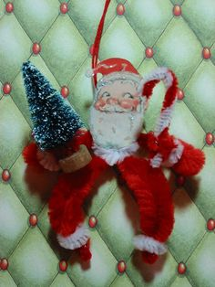 primit vintag, ornament chenill, style santa, chenill feather, feather tree, candy canes, vintag style, tree ornament, vintage style
