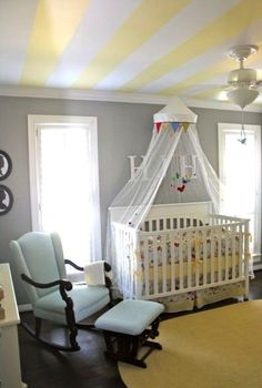 Love the yellow & white striped ceiling with the gray walls.  - This would be perfect in my (what it is now) guest room/future baby room