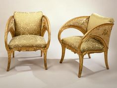 Joan Busquets Pair of Arm Chairs (Palacio Güell) 1885-89 gold leaf on wood with fabric 29 1/2 x 25 1/2 x 25 in.