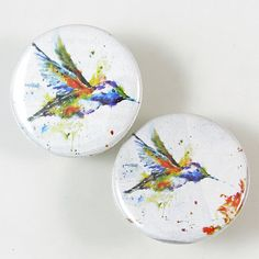 Hummingbird Pinback Button Set by XOHandworks $3
