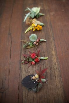 Fall boutonnieres. bouquet, wedding ideas, autumn style, dried flowers, rustic weddings, autumn weddings, fall weddings, floral, boutonnieres