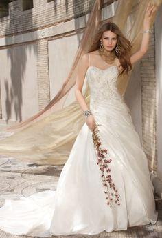 Camille La Vie taffeta wedding dress with paisley design