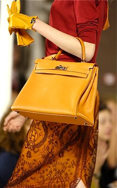 Yellow Hermes bag and gloves and warm true autumn colours