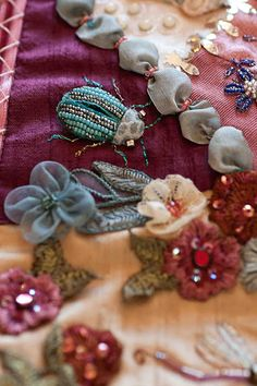 craft, bugs, shirle fassel, ribbon, beads, needl, beetles, embroideri, crazi quilt