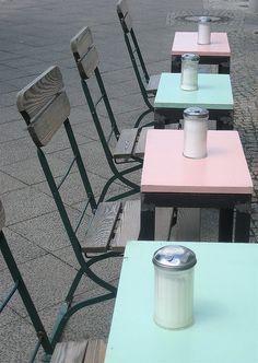 pink,aqua cafe tables BERLIN
