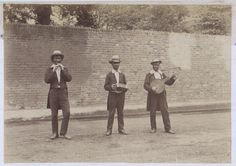 Photograph of three entertainers playing a tin whistle, a concertina and a banjo, 1884 (COPY 1/369 f.238)