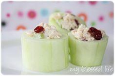 Chicken salad in cucumber cups