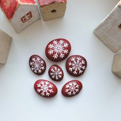 painted stones ~ a basket of snowflakes for winter