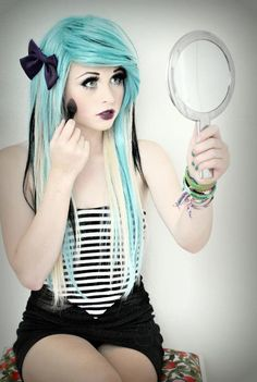 :blue and white scene hair Rachael Fae