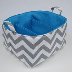 Gray/Grey and White Chevron Fabric Diaper Caddy - Choose the Inside/ Lining Fabric - Storage Container Organizer Bin Basket  - with Dividers