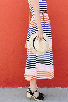 Midi dress! #summerstyle #Slanted #Stripes #Midi #Dress #Anthropologie