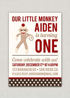 Sock Monkey Birthday Party Invitation