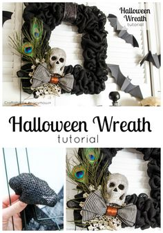 Black Burlap Halloween wreath. Love the pairing of peacock features and burlap.