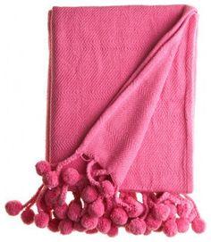 Pink Pom Pom Throw @ Hattan Home