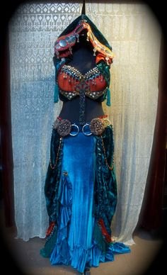 Belly Dance Super Stars Ready, Super Deluxe Tribal Belly Dance Costume. Two part payment plan available.. $1,282.00, via Etsy.