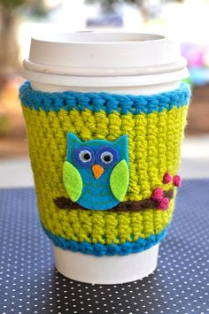 owl coffee cozy...