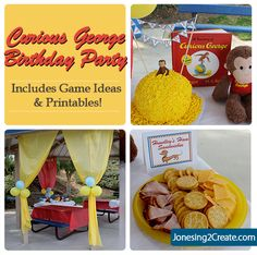 Curious George Birthday Party! Includes printables and game ideas. I love the cake!