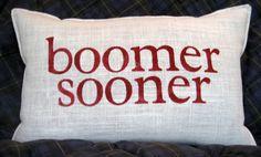BOOMER SOONER STENCILED Burlap Pillow by BurlapEtc on Etsy