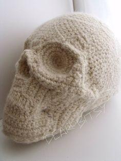 Knitted skull pillow