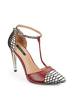Rachel Zoe - Franco Metallic Embossed Leather T-Strap Pumps