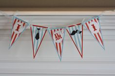 Happy Birthday Vintage Red and Blue Mustache Barber Shop Theme Banner