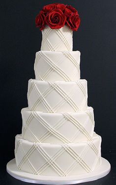 wedding cake texture, cake wedding, cake idea, weddings cakes, wedding cakes, red roses, textured fondant, cake designs, cake design ideas
