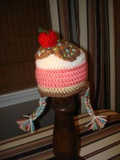 Ice Cream Sundae Crochet Baby Hat