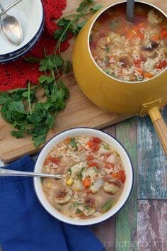 Alphabet Veggie Soup with Mini Chicken Meatballs via @girlichef #soup #meatballs #chicken #frozenveggies