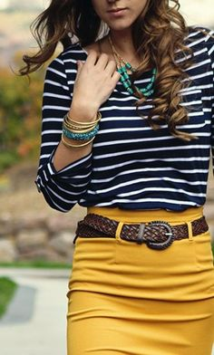 Sleeve stripes and mustard skirt combo
