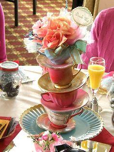 tea time, bridal tea, centre pieces, alice in wonderland, wonderland party, party centerpieces, teacup, parti, bridal showers