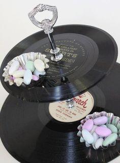 Vinyl records repurposed into a tiered tea tray!