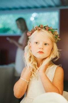sweet flower girl with floral crown // photo by Sweet Little Photographs, flowers by The Little Branch // View more: http://ruffledblog.com/copper-and-white-malibu-wedding/