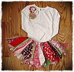 Rag Tutu Valentine Shabby Chic Skirt and Shirt. CUTE MAKE YOUR OWN OUTFIT!